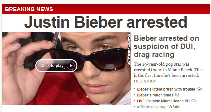 CNN Bieber Arrest Pic