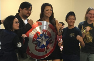 Ming-Na Wen brandishing Captain America's Shield Main Pic