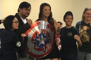 Ming-Na Wen brandishing Captain America's Shield Main Pic